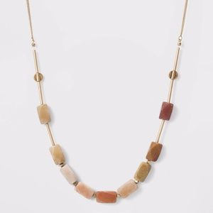 Semi-Precious Gold and Topaz Beaded Chain Necklace